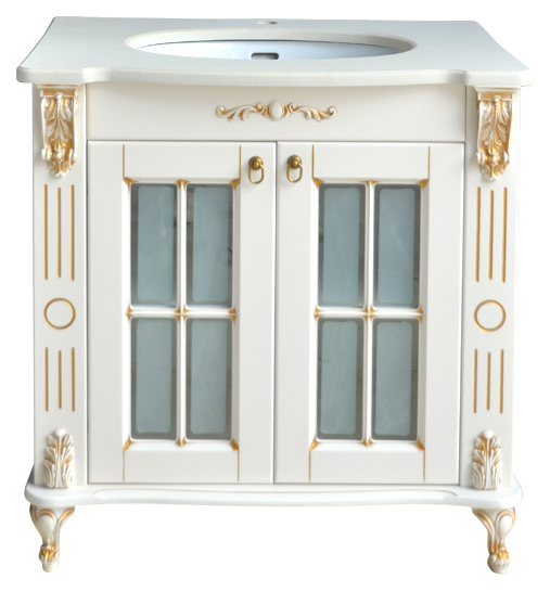 Александрия K New Ivory (серебро)Мебель для ванной<br>Тумба с раковиной Атолл Александрия K со встроенной столешницей и раковиной Creavit.<br>
