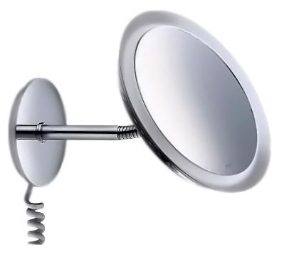 Bella Vista 17605 019001 хромАксессуары для ванной<br>Косметическое зеркало Keuco Bella Vista 17605 019001 настенное с подсветкой, спиральный кабель, одностороннее, вогнутое. Коэффициент увеличения x 3. Ввиду долговечной работы осветительного элемента его замена не предусмотрена, 1 x 8 Вт. EEK: A, 9 kWh/1000h.<br>