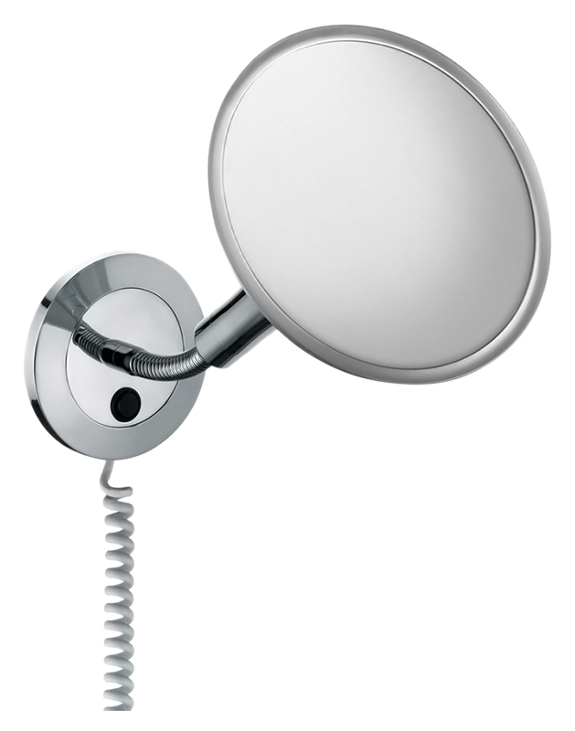 Elegance 17676 019001 хромАксессуары для ванной<br>Косметическое зеркало Keuco Elegance 17676 019001 настенное с подсветкой, спиральный кабель, одностороннее, вогнутое. Коэффициент увеличения x 5. Энергосберегающая лампа 1 x 8 Вт. EEK: A, 9 kWh/1000h.<br>