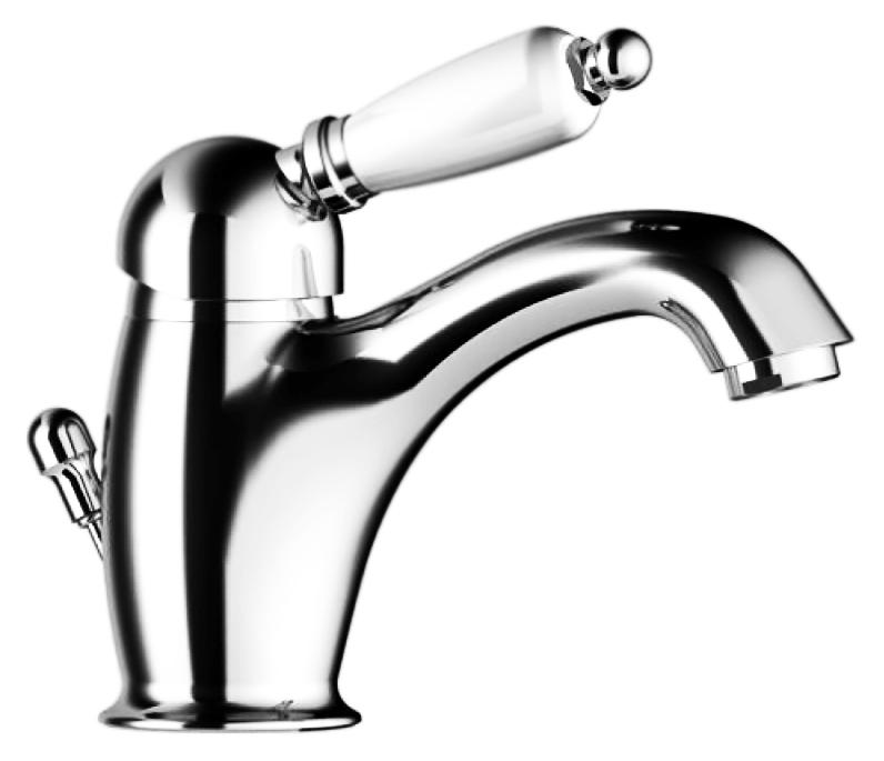 Orta 2746 хромСмесители<br>Смеситель для раковины Gattoni Orta 2746 однорычажный, с белой ручкой, с донным клапаном. Цена указана за смеситель и гибкую подводку. Все остальное приобретается дополнительно.<br>