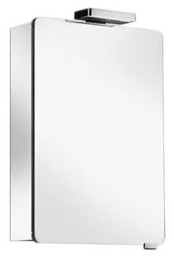 Elegance 21601 171201 хром, левыйМебель для ванной<br>Зеркальный шкаф Keuco Elegance 21601 171201 из серебристого анодированного алюминия, петли слева. 1 распашная дверца из хрустального стекла, с двух сторон зеркальная, боковины корпуса зеркальные, задняя стенка зеркальная, галогенная подсветка (2 x 20 Вт), 1 внешний выключатель на корпусе, 2 электрические розетки внутри, 3 стеклянные полочки, регулируемые по высоте. В комплект поставки входит зеркальный шкаф.<br>