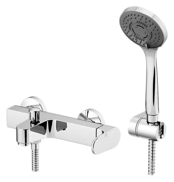 H2Omix1000 1000 хромСмесители<br>Смеситель для ванны Gattoni H2Omix1000 1000 однорычажный, ручка справа, с душевым гарнитуром. Цена указана за смеситель, шланг (1500 мм), ручной душ и держатель для душа. Все остальное приобретается дополнительно.<br>