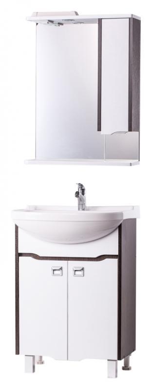 Венеция 55 Белая-венгеМебель для ванной<br>Тумба с раковиной Bestex Венеция 55, с двумя дверцами с плавным закрыванием, сочетает в себе легкость форм и линий, которые перекликаются с особым оформлением фасадов. Спокойный и строгий дизайн будет отлично гармонировать с интерьером Вашей ванной комнаты, создавая в ней уют и комфорт. Цена указана за тумбу и раковину Della Классик 55. Все остальное приобретается дополнительно.<br>