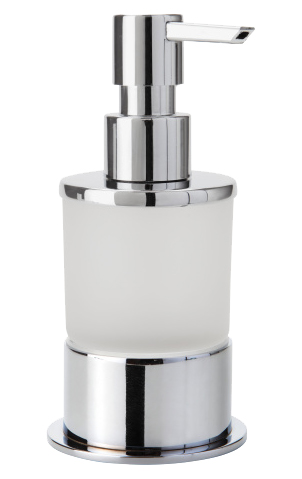 Omega 138109161 Хром/ПрозрачныйАксессуары для ванной<br>Дозатор для жидкого мыла Bemeta Omega 138109161. Материал латунь/стекло. Монтаж настольный. Ширина 8 см. Глубина 7 см. Высота 16 см. Объем 0.2 л. Цвет держателя хром, цвет дозатора прозрачный. Фактура держателя глянцевая, фактура дозатора матовая.<br>