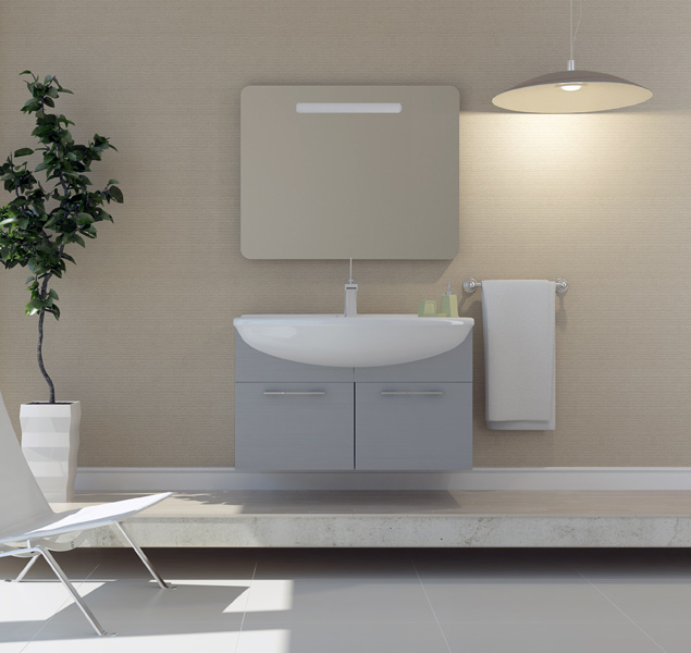 Модерн 75 подвесная Бамбук-стальМебель для ванной<br>В стоимость входит тумба с раковиной Sanvit Модерн 75. Тумба подвесная с двумя распашными дверцами, раковина керамика. Зеркало приобретается отдельно.<br>
