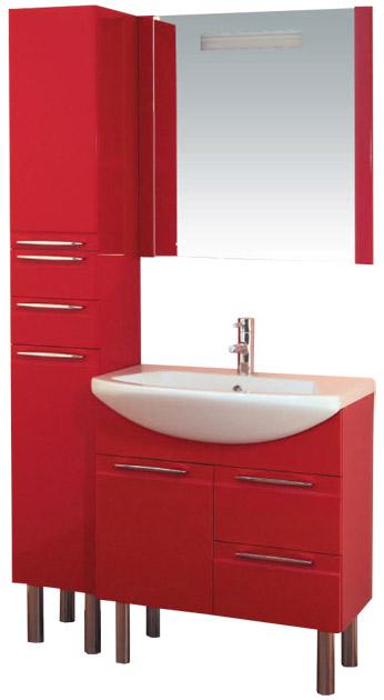 Эдем Lux 75 на ножках Вишня глянецМебель для ванной<br>В стоимость входит тумба с раковиной Sanvit Эдем Lux 75. Тумба с одной распашной дверцей и двумя выдвижными ящиками с доводчиками, раковина керамика. Зеркало приобретается отдельно.<br>