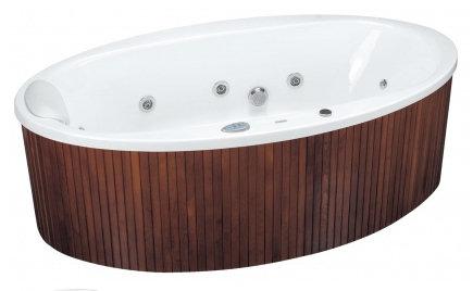 Aura 190 x 100 Effects NaviВанны<br>Ванна Pool Spa серия Aura, в комплект входит: ванна и рама.<br>Электронное управление. Двухсторониий водонепроницаемый пульт:<br>– 3 кнопки на одной стороне пульта (запускающие подготовленные программы «Pro Relaxation», «Skin Beauty» и «Body Regeneration»).<br>– 4 кнопки с другой стороны пульта (возможность самостоятельной установки водного и воздушного массажа, а также хромотерапии).<br>– Индикатор температуры (выполнен лазерной печатью на кромке ванны) с цветными светодиодами, указывающими температуру воды в ванне.<br>Водный массаж:<br>&amp;#8722; ротационные форсунки для спины.<br>&amp;#8722; ротационные форсунки для стоп (в ваннах с круглыми форсунками).<br>– направленные форсунки для стоп (в ваннах с квадратными форсунками).<br>&amp;#8722; боковые форсунки с возможностью регулировки направления водной струи. <br>– пульсационный массаж.<br>&amp;#8722; датчик уровня воды.<br>&amp;#8722; защита от сухого запуска насоса.<br>&amp;#8722; отвод воды после купания из системы водного массажа.<br>– функция TURBO – усиление водного массажа воздухом из воздушного компрессора).<br>Воздушный массаж:<br>– система воздушных каналов в ванне.<br>– воздушный компрессор с подогревом.<br>– автоматическое озонирование воды.<br>– электронная регулировка силы воздушного массажа.<br>– пульсационный массаж.<br>– отвод воды после купания из системы воздушного массажа.<br>– автоматическая просушка системы аэромассжа теплым воздухом после купания.<br>– автоматическая продувка воздушных каналов через каждые 24 часа.<br>Хромотерапия. Запрограммированное максимальное время купания 30 минут.<br>