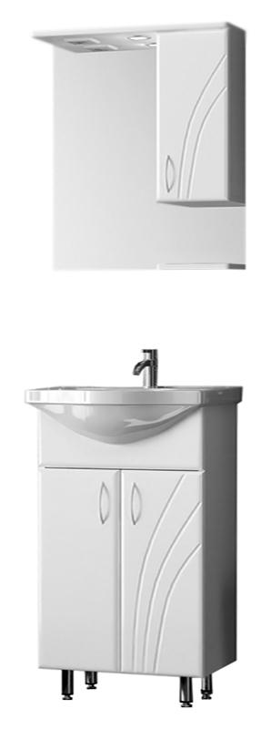 Волна 60 БелаяМебель для ванной<br>Тумба с раковиной Bestex Волна 60 с двумя распашными дверцами и резным рисунком на фасаде, с легкими формами и линиями, органичными в своей безукоризненной простоте. Цена указана за тумбу и раковину Santek Байкал 60. Все остальное приобретается дополнительно.<br>