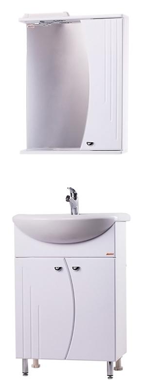 Восход-2 55 БелаяМебель для ванной<br>Тумба с раковиной Bestex Восход-2 55 с двумя дверцами изогнутой формы - это красивая, компактная и функциональная модель, которая способна моментально преобразить интерьер ванной комнаты любых габаритов. Цена указана за тумбу и раковину Rosa Уют-55. Все остальное приобретается дополнительно.<br>