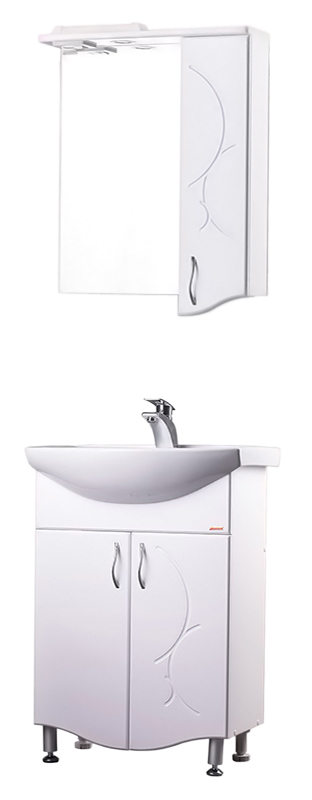 Сфера 55 БелаяМебель для ванной<br>Тумба с раковиной Bestex Сфера 55 с двумя дверцами с плавным закрыванием, украшенными резными рисунками на фасаде, будет отлично смотреться как в просторных помещениях ванных комнат, так и в компактных, независимо от площади и архитектурных особенностей. Цена указана за тумбу и раковину Santek Линда 55. Все остальное приобретается дополнительно.<br>