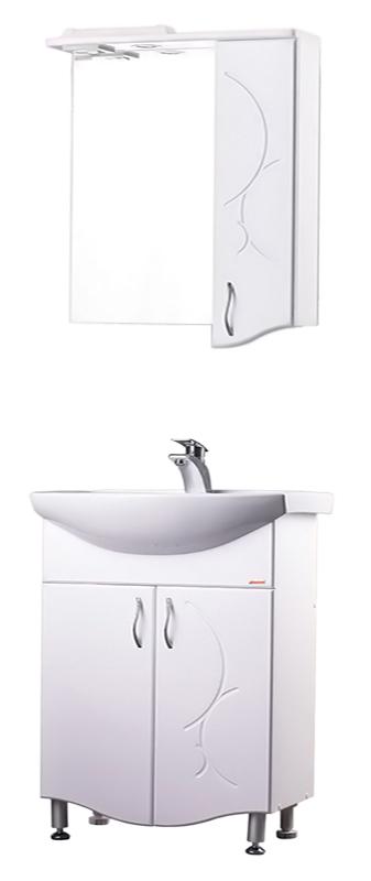 Сфера 65 БелаяМебель для ванной<br>Тумба с раковиной Bestex Сфера 65 с двумя дверцами с плавным закрыванием, украшенными резными рисунками на фасаде, будет отлично смотреться как в просторных помещениях ванных комнат, так и в компактных, независимо от площади и архитектурных особенностей. Цена указана за тумбу и раковину Sanita Лагуна 65. Все остальное приобретается дополнительно.<br>