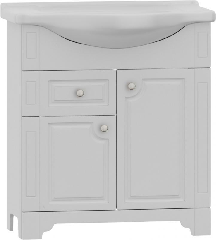 Tradition M95-FSX0753WG-WCC0752 Tradition 75Мебель для ванной<br>Мебель для ванной Dorff Tradition M95-FSX0753WG-WCC0752 на ножках с раковиной 75см. Изготовлена из влагостойкой ДСП категории качества Е1 с меламиновым покрытием. Фасадные панели изготовлены из MDF категории качества Е1. Наружные элементы окрашены экологически чистыми полиуретановыми и акриловыми эмалями, соответствующими международному стандарту качества ISO 9002. Используются зеркальные полотна с подложкой на основе серебряной амальгамы, что значительно увеличивает срок службы в помещениях с повышенной влажностью. Комплектуется фурнитурой с системой мягкого закрывания.<br>