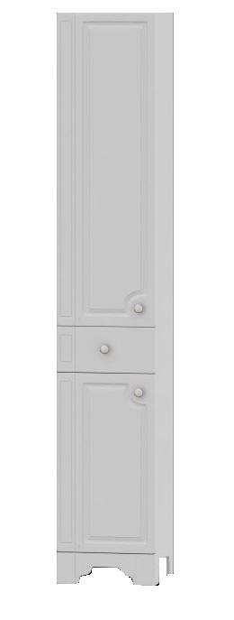 Tradition M95CSL0366WG Tradition 36 RМебель для ванной<br>Шкаф-колонна Dorff Tradition M95CSR0366WG. Исполнение с правой стороны. Корпус изготовлен из влагостойкой ДСП категории качества Е1 с меламиновым покрытием. Фасадные панели изготовлены из MDF категории качества Е1. Наружные элементы окрашены экологически чистыми полиуретановыми и акриловыми эмалями, соответствующими международному стандарту качества ISO 9002. Комплектуется фурнитурой с системой мягкого закрывания.<br>