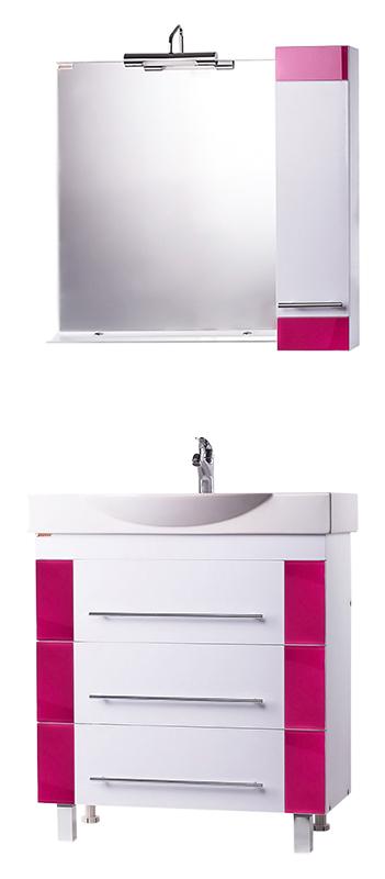 Майорка 76 Розовое стеклоМебель для ванной<br>Тумба с раковиной Bestex Майорка 76 с тремя удобными выдвижными ящиками, оснащёнными доводчиком и плавным закрыванием, с декоративными стёклами на фасаде по бокам. Универсальный умывальник шириной 76 см, отличающийся хорошим водоизмещением и компактностью. Цена указана за тумбу и раковину Edelform Signo 76. Все остальное приобретается дополнительно.<br>