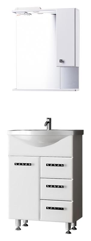 Шарм 60 Белый шелкМебель дл ванной<br>Тумба с раковиной Bestex Шарм 60 с одной дверцей с плавным закрыванием слева и трем выдвижными щиками на роллингах справа, с оригинальными металлическими ручками, сделает Вашу ванну неверотно утной и, при том, функционально практичной. Цена указана за тумбу и раковину Santek Байкал 60. Все остальное приобретаетс дополнительно.<br>