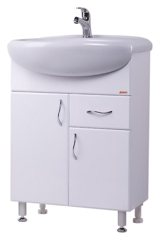 Стиль 60-2 БелаяМебель для ванной<br>Тумба с раковиной Bestex Стиль 60-2, с двумя распашными дверцами и одним выдвижным ящиком, гармонична в своей безукоризненной простоте. Цена указана за тумбу и раковину Старый Оскол Арго 60. Все остальное приобретается дополнительно.<br>