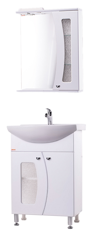 Лагуна 60 Белый шелкМебель для ванной<br>Тумба с раковиной Bestex Лагуна 60, с двумя дверцами с плавным закрыванием, украшенными декоративным стеклом, эффектно совмещает в себе практичность и лаконичность линий и форм. Цена указана за тумбу и раковину Santeri Грация 60. Все остальное приобретается дополнительно.<br>