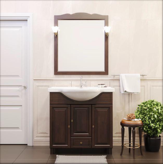 Атрия 55 орех антикварныйМебель для ванной<br>Тумба под раковину Атрия 55. Коллекция  Атрия , сочетая в себе надежность и функциональность, выполнена в классическом стиле.Тумба изготавливается из ценной породы дерева - массив бука. Комплектуется с зеркалом в деревянной раме, изящными светильниками, пеналом . Цвет изделия - орех антикварный.<br>
