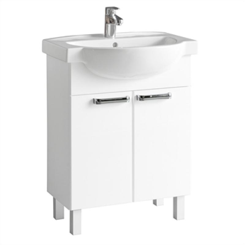 Arret RK0312650000 Белый глянецМебель для ванной<br>Тумба под раковину Ifo Arret RK0312650000 55см (белый глянец). Этот шкаф под раковину с двумя распашными дверцами имеет глубокие полки. Установка напольная<br>