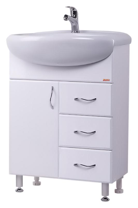 Стиль 60-6 БелаяМебель для ванной<br>Тумба с раковиной Bestex Стиль 60-6, с одной распашной дверцей и тремя выдвижными ящиками, гармонична в своей безукоризненной простоте. Цена указана за тумбу и раковину Старый Оскол Арго 60. Все остальное приобретается дополнительно.<br>