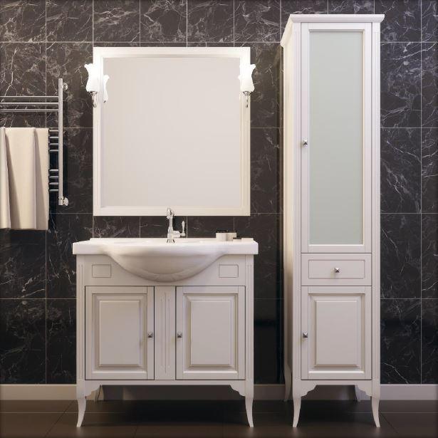 Глория 75 слоновая костьМебель для ванной<br>Тумба под раковину Глория 75. Коллекция выполненная в популярном стиле Прованс, сочетает в себе простоту прямоугольных форм, легкость и элегантность.Тумба изготавливается из ценной породы дерева - массив бука. Стоимость указана за тумбу без раковины. Комплектуется с зеркалом в деревянной раме, изящными светильниками, пеналом . Тумба с двумя  открывающимися дверцами и керамической раковиной удобной формы. Цвет изделия - слоновая кость.<br>