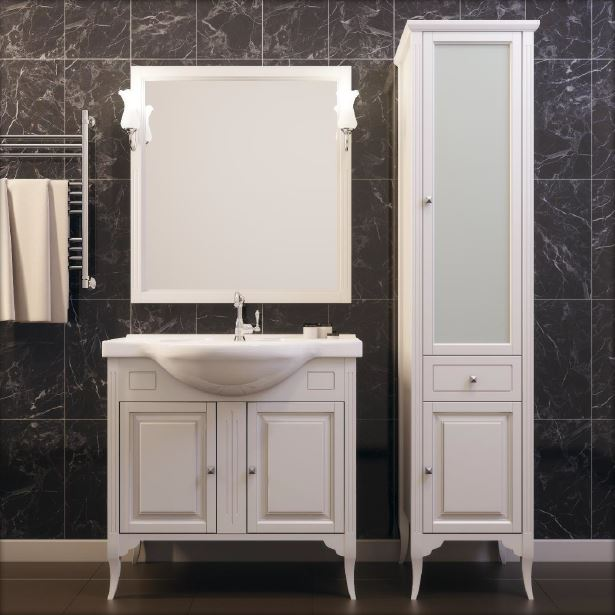 Глория 85 слоновая костьМебель для ванной<br>Тумба под раковину Глория  85. Коллекция выполненная в популярном стиле Прованс, сочетает в себе простоту прямоугольных форм, легкость и элегантность.Тумба изготавливается из ценной породы дерева - массив бука. Стоимость указана за тумбу без раковины. Комплектуется с зеркалом в деревянной раме, изящными светильниками, пеналом . Тумба с двумя открывающимися дверцами и керамической раковиной удобной формы. Цвет изделия - слоновая кость.<br>