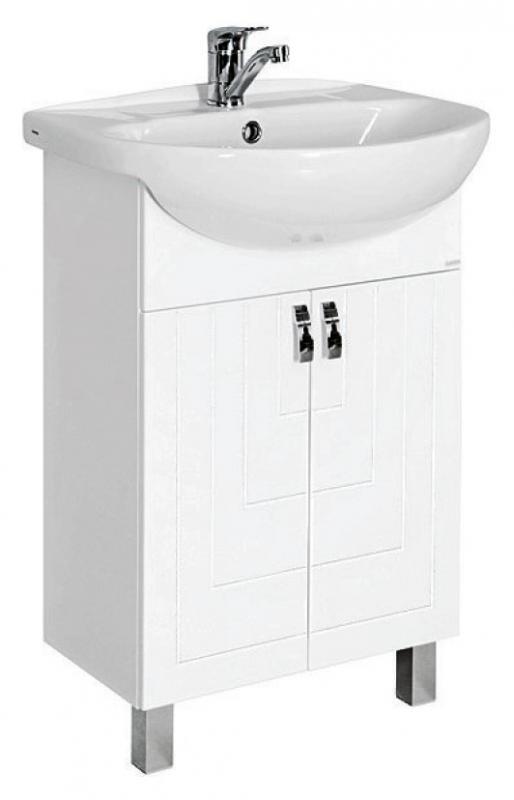 Пазл 55 БелаяМебель для ванной<br>Тумба под раковину Santek Пазл 60 белая. Ширина 544 мм. Высота 700 мм. Длина 280 мм. Материал корпуса ДСП влагостойкий. Материал фасада МДФ влагостойкий. Тумба имеет два закрытых отделения с дверцами. Дверцы оснащены механизмом плавного закрывания. Фрезеровка на фасадах тумбы делает мебель современной. В комплекте 2 опорные декоративные ножки.<br>