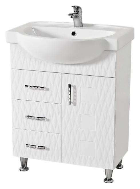 Ассоль 65 белаяМебель для ванной<br>Тумба с раковиной Аква Родос Ассоль 65, с тремя выдвижными ящиками и одной распашной дверцей, с элегантными ручками, с австрийской фурнитурой, обеспечивающей плавное открытие-закрытие, с ножками, которые легко выставляются по высоте. 3D фасад придаёт тумбе уникальную огранку. Качественные материалы и комплектующие обеспечат Вам комфорт в пользовании мебелью. Цена указана за тумбу и раковину Акцент 65. Все остальное приобретается дополнительно.<br>