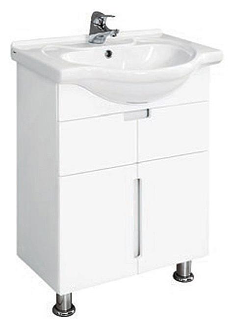 Рандеву 60 МН БелаяМебель для ванной<br>Тумба под раковину Santek Рандеву 60 МН белая. Ширина 566 мм. Высота 700 мм. Длина 310 мм. Материал корпуса ДСП влагостойкий. Материал фасада МДФ влагостойкий. Тумба имеет два ящика полного выдвижения и два закрытых отделения с дверцами. Ящики и дверцы оснащены механизмом плавного закрывания. В комплекте 2 опорные декоративные ножки.<br>