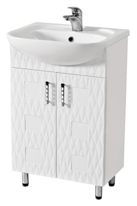 Ассоль 55 белаяМебель для ванной<br>Тумба с раковиной Аква Родос Ассоль 55, с двумя распашными дверцами, с элегантными ручками, с австрийской фурнитурой, обеспечивающей плавное открытие-закрытие, с ножками, которые легко выставляются по высоте. 3D фасад придаёт тумбе уникальную огранку. Качественные материалы и комплектующие обеспечат Вам комфорт в пользовании мебелью. Цена указана за тумбу и раковину Нова 55. Все остальное приобретается дополнительно.<br>