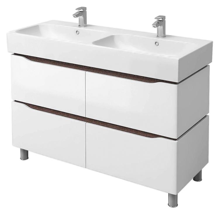 """Венеция 120 белая/венгеМебель для ванной<br>Тумба с двойной раковиной Аква Родос Венеция 120, с двумя вместительными выдвижными ящиками и регулируемыми по высоте ножками. Внутренняя и наружная сторона тумбы полностью покрыты грунтовкой в три слоя, также на ее поверхность нанесено четыре слоя влагостойкой краски итальянского производства (""""ItalColor""""), что гарантирует долгие годы службы изделия. Цена указана за тумбу и двойную раковину Пинтo 120. Все остальное приобретается дополнительно.<br>"""