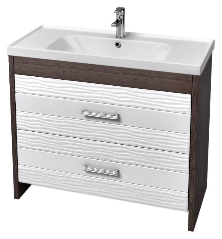 Лотос 100 белая/венгеМебель для ванной<br>Элегантная тумба с раковиной Аква Родос Лотос 100 с двумя широкими удобными выдвижными ящиками и с текстурным 3D фасадом белого цвета, придающим объемные линии. Качественные материалы и комплектующие обеспечат Вам комфорт в пользовании мебелью. Цена указана за тумбу и раковину Frame 100. Все остальное приобретается дополнительно.<br>