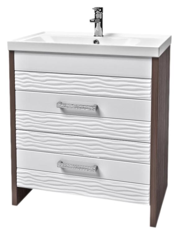 Лотос 80 белая/венгеМебель для ванной<br>Элегантная тумба с раковиной Аква Родос Лотос 80 с двумя широкими удобными выдвижными ящиками и с текстурным 3D фасадом белого цвета, придающим объемные линии. Качественные материалы и комплектующие обеспечат Вам комфорт в пользовании мебелью. Цена указана за тумбу и раковину Frame 80. Все остальное приобретается дополнительно.<br>