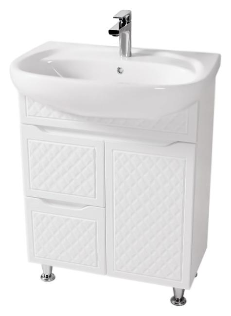 Родорс 65 белаяМебель для ванной<br>Тумба с раковиной Аква Родос Родорс 65, с одной распашной дверцей и двумя выдвижными ящиками, с австрийской фурнитурой, обеспечивающей плавное открытие-закрытие, с ножками, которые легко выставляются по высоте. 3D фасад придаёт тумбе уникальную огранку. Качественные материалы и комплектующие обеспечат Вам комфорт в пользовании мебелью. Цена указана за тумбу и раковину Нова 65. Все остальное приобретается дополнительно.<br>