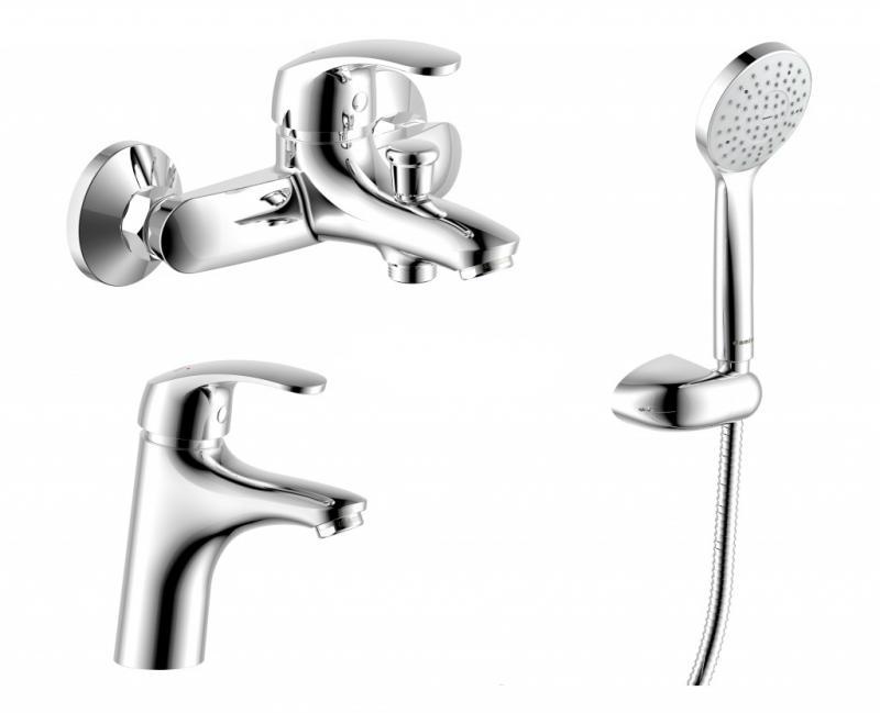 Palace One 409410001 ХромСмесители<br>Набор смесителей RedBlu by Damixa Palace One для ванной комнаты 3 в 1: смеситель для умывальника, смеситель для ванны/душа, душевой комплект (лейка, шланг, настенный держатель). Смеситель для умывальника c керамическим регулятором и фиксированным изливом 111,5 мм. Душевой гарнитур: шланг длиной 1750 мм, ручной душ с одной функцией и настенный держатель. Настенный смеситель для ванны/душа c керамическим регулятором, фиксированным изливом, выходом 1/2 для душевого шланга, розетками и эксцентриковыми соединениями 3/4.<br>