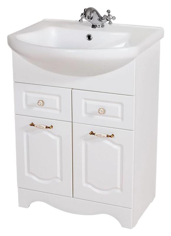 Классик 60 белаяМебель для ванной<br>Тумба с раковиной Аква Родос Классик 60, с двумя распашными дверцами, и двумя выдвижными ящиками. Плавные изгибы декора дверок, рельефный низ - классические, воздушные формы, оживленные легкостью и изяществом стиля. Качественные материалы и комплектующие обеспечат Вам комфорт в пользовании мебелью. Цена указана за тумбу и раковину Эвита 60. Все остальное приобретается дополнительно.<br>