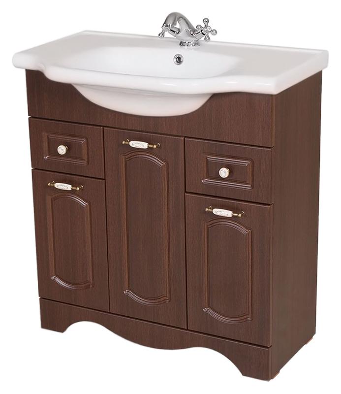 Классик 80 орех итальянскийМебель для ванной<br>Тумба с раковиной Аква Родос Классик 80, с тремя распашными дверцами, и двумя выдвижными ящиками. Плавные изгибы декора дверок, рельефный низ - классические, воздушные формы, оживленные легкостью и изяществом стиля. Качественные материалы и комплектующие обеспечат Вам комфорт в пользовании мебелью. Цена указана за тумбу и раковину Классик 80. Все остальное приобретается дополнительно.<br>