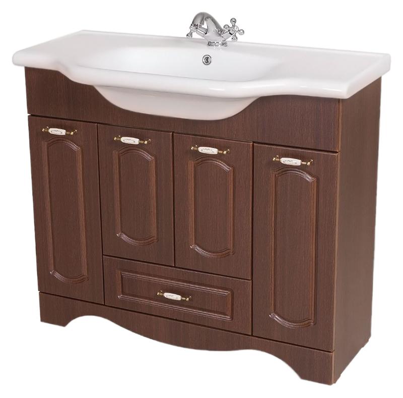 Классик 100 орех итальянскийМебель для ванной<br>Тумба с раковиной Аква Родос Классик 100, с четырьмя распашными дверцами, и одним вместительным выдвижным ящиком. Плавные изгибы декора дверок, рельефный низ - классические, воздушные формы, оживленные легкостью и изяществом стиля. Качественные материалы и комплектующие обеспечат Вам комфорт в пользовании мебелью. Цена указана за тумбу и раковину Классик 100. Все остальное приобретается дополнительно.<br>