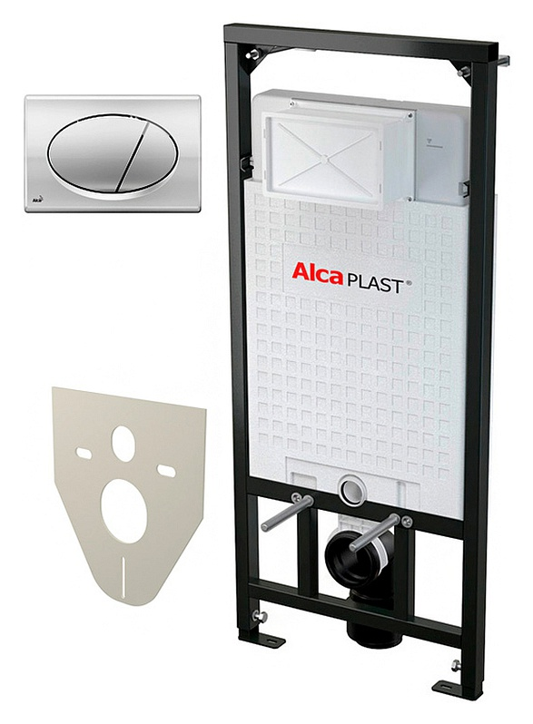 Sadromodul A101/1200 4 в 1 Хром/ЧерныйИнсталляции<br>Система инсталляции для унитазов AlcaPlast Sadromodul A101/1200 4 в 1 кнопка смыва хром. Метод крепления в пол, в капитальную стену, в некапитальную стену. Подвод воды сверху бачка. Монтажная высота 117 см. Монтажная глубина 20 см. Межосевое расстояние под крепежные шпильки 18, 23 см. Объем смывного бачка 6/9 л. Диаметр слива 9 см.<br>