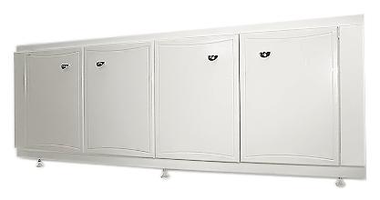 170 белыйКомплектующие<br>Экран под ванну Bestex 170 на регулируемых по высоте ножках, с четырьмя распашными дверками, из влагостойкого  МДФ - это декоративное и функциональное решение для ванной комнаты. Цена указана за экран под ванну. Все остальное приобретается дополнительно.<br>