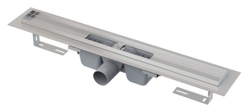 APZ1 1150 Хром/СерыйДушевые трапы и лотки<br>Душевой лоток AlcaPlast APZ1 1150 с решеткой и опорами. Водоотводящий желоб с порогами с перфорированной решеткой. Вода втекает в желоб через отверстия решетки или между краями желоба и решетки. Желоб устанавливается к стене или на открытое пространство. Размещение вровень с полом. Минимальная толщина бетона 85 мм. Направление выпуска: боковой. Диаметр слива 5 см. Диаметр подключения 5 см. Мокрый затвор. Материал решетки нержавеющая сталь, пластик. Ширина ниши желоба 6 см. Предельно допустимая нагрузка 300 кг. Максимальная пропускная способность 60 л/мин. Вид изоляции: рулонная. В комплект поставки входит лоток.<br>
