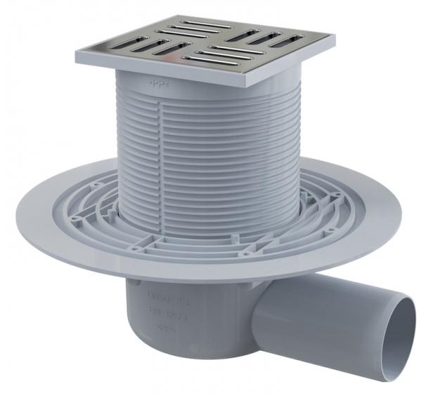 APV101 Хром матовый/СерыйДушевые трапы и лотки<br>Душевой трап AlcaPlast APV101. Модель имеет квадратную форму и боковой выпуск. Перфорированная декоративная решетка выполнена из нержавеющей стали, выдерживает нагрузку до 300 кг. Трап может быть отрегулирован по высоте на расстояние до 9 см. Размещение вровень с полом. Минимальная толщина бетона 62 мм. Диаметр слива 10 см. Диаметр подключения 5 см. Масштаб регулировки по высоте 8.6 см. Мокрый затвор. Материал решетки нержавеющая сталь. Максимальная пропускная способность 46 л/мин. В комплект поставки входят трап с решеткой.<br>