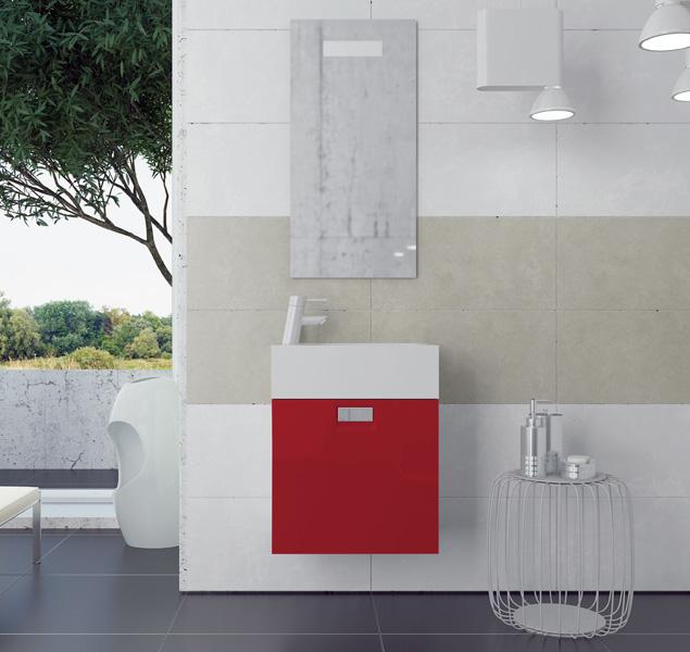 Луи 48 L подвесная Красный глянецМебель для ванной<br>В стоимость входит тумба с раковиной Sanvit Луи 48 L. Тумба подвесная с одной распашной левой дверцей и полочкой внутри, раковина керамика. Зеркало приобретается отдельно.<br>