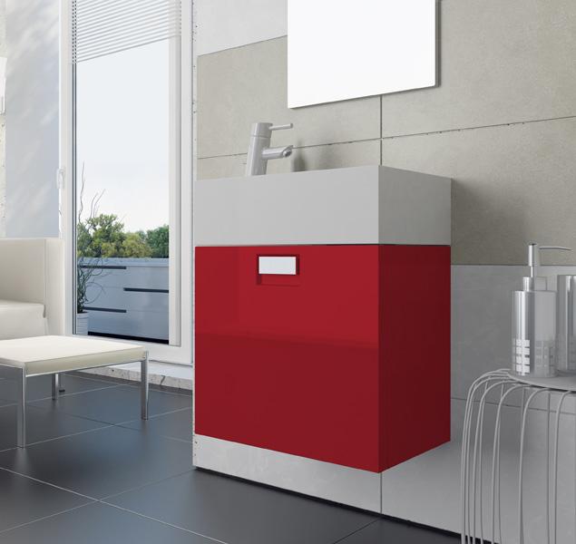Луи 48 R подвесная Красный глянецМебель для ванной<br>В стоимость входит тумба с раковиной Sanvit Луи 48 R. Тумба подвесная с одной распашной правой дверцей и полочкой внутри, раковина керамика. Зеркало приобретается отдельно.<br>