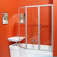 Behappy VS3 115 сатин+TransparentДушевые ограждения<br>Стеклянная шторка на ванну Ravak Behappy VS3 115 795S0U00Z1 трехсекционная, состоящая из трех подвижных частей, которые складываются внутрь. Левый или правый варианты входа получаются путем разворота изделия на 180°.<br><br>Витраж: прозрачный.<br>Цвет профиля: сатин.<br>Материал витража: безопасное стекло толщиной 3 мм.<br>Материал профиля: алюминий.<br><br>