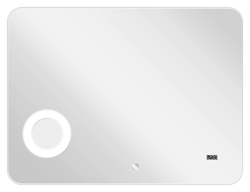 Элио 100 хромМебель для ванной<br>Зеркало Акватон Элио 100 сможет придать ванной комнате особый стиль и индивидуальность и сделает пребывание в ней более комфортным. В изделие встроено дополнительное увеличительное косметическое зеркало, электронные часы и сенсорный выключатель. Увеличительное косметическое зеркало встроено за зеркальным полотном, а вокруг него - мощная круговая подсветка. Зеркальное полотно покрыто специальной пленкой, которая защищает его от повреждений и попадания влаги, а при его повреждении осколки не разлетаются, а остаются на пленке. В зеркало встроена дополнительная фоновая подсветка - светильники сверху и снизу, расположенные за зеркальным полотном.<br>