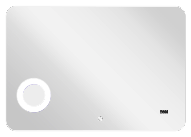 Элио 120 хромМебель для ванной<br>Зеркало Акватон Элио 120 сможет придать ванной комнате особый стиль и индивидуальность и сделает пребывание в ней более комфортным. В изделие встроено дополнительное увеличительное косметическое зеркало, электронные часы и сенсорный выключатель. Увеличительное косметическое зеркало встроено за зеркальным полотном, а вокруг него - мощная круговая подсветка. Зеркальное полотно покрыто специальной пленкой, которая защищает его от повреждений и попадания влаги, а при его повреждении осколки не разлетаются, а остаются на пленке. В зеркало встроена дополнительная фоновая подсветка - светильники сверху и снизу, расположенные за зеркальным полотном.<br>