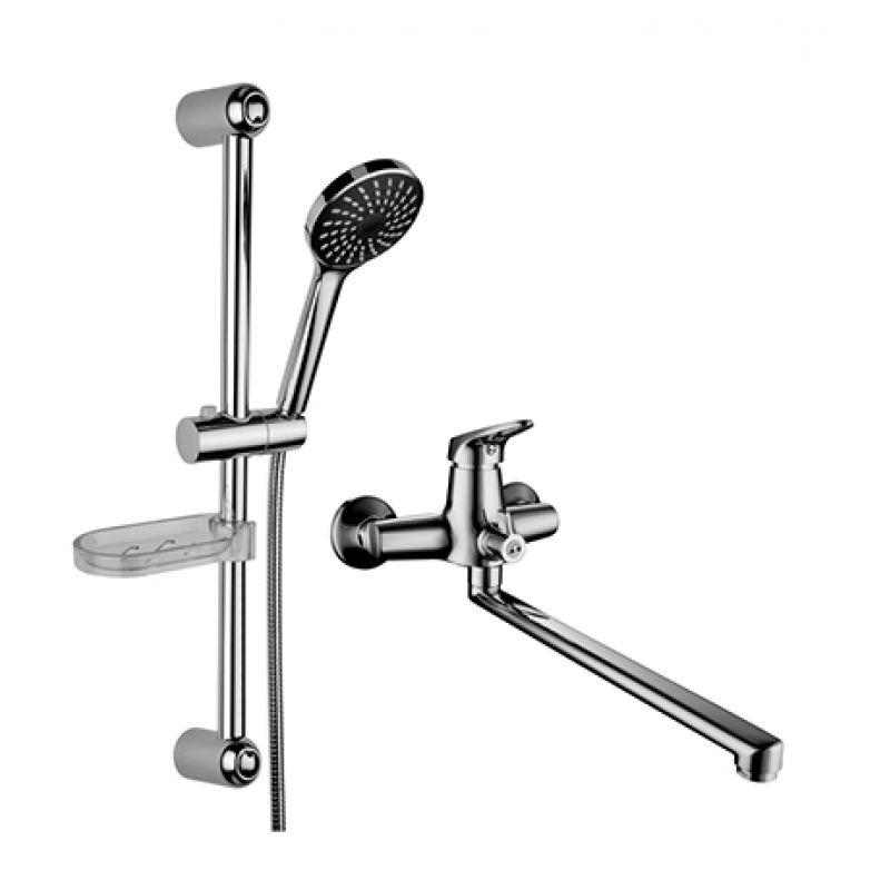 Set LM7303C ХромСмесители<br>Комплект смесителей Lemark Set LM7303C для ванной. В набор входит два изделия: смеситель для ванны и душевой гарнитур. Однорычажный смеситель для ванны с металлической рукояткой и плоским поворотным изливом 350 мм оснащённым аэратором. Душевой гарнитур: cтойка для душа высотой 595 мм, однорежимная ручная лейка диаметром 98 мм с режимом Распыление, душевой шланг длиной 1500 мм с металлической оплёткой с двойным загибом.<br>