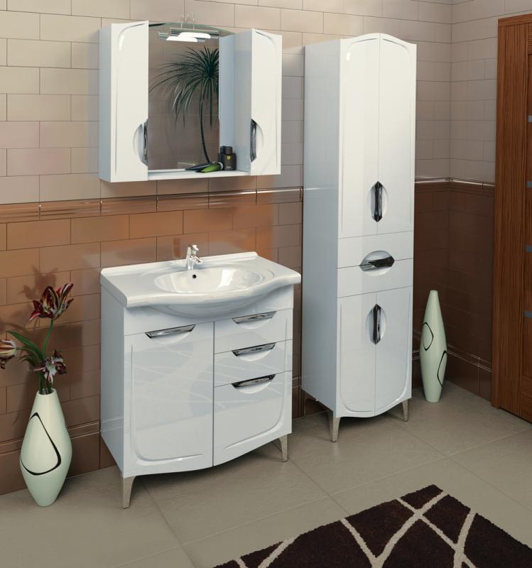 Иматра 75 БелаяМебель для ванной<br>Тумба под раковину Aqualife Design Иматра 75 c 3 ящиками и бельевой корзиной.   Стоимость указана только за тумбу. Дополнительно вы можете приобрести раковину, шкаф-пенал и зеркало.<br>