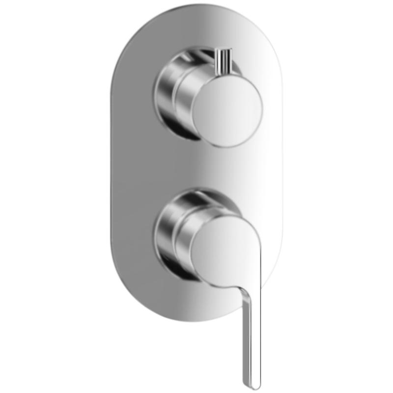 DoReMi DR860101 ХромСмесители<br>Настенный смеситель для ванны Webert DoReMi DR860101015 на два потока воды, однорычажный, встраиваемый в одно отверстие.  <br>Покрытие: глянцевый хром.   <br>Материал: качественная латунь с минимальным процентом свинца: Состав материала соответствует международным нормам.<br>Керамический картридж: D 35 мм.<br>Картридж оснащен механизмом контроля потока воды и температуры.<br>Механическая настройка эксплуатационных параметров.<br>Переключатель потоков (девиатор).<br>Стандарт подключения: G 1/2. <br>  <br>В комплекте поставки:  <br>внешняя часть смесителя; <br>внутренняя часть смесителя;  <br>комплект креплений. <br><br>
